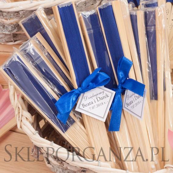 Wachlarze weselne personalizowane Wachlarz materiałowy ciemnoniebieski - personalizacja