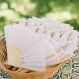 Wachlarze weselne Wachlarz materiałowy biały