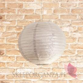 Lampion dekoracyjny, kula metaliczna srebrna 35cm