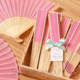 Wachlarz materiałowy jasnoróżowy - personalizacja kolekcja ślubna AKWARELE PEONIA