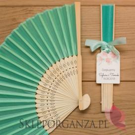 Wachlarz materiałowy mięta – personalizacja kolekcja ślubna AKWARELE PEONIA