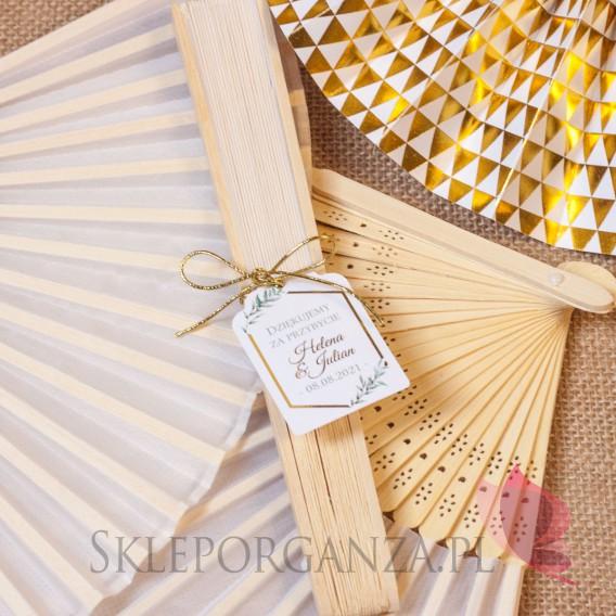GEOMETRYCZNA GOLD na ślub Wachlarz materiałowy biały – personalizacja kolekcja ślubna GEOMETRYCZNA GOLD