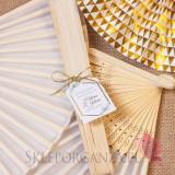 Wachlarz materiałowy biały – personalizacja kolekcja ślubna GEOMETRYCZNA GOLD