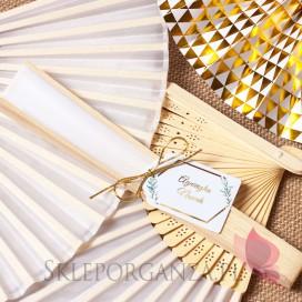 Wachlarz materiałowy biały – personalizacja kolekcja ślubna GEOMETRYCZNA GOLD WINIETKA