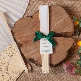 Wachlarz materiałowy biały – personalizacja kolekcja ślubna EUKALIPTUS WINIETKA
