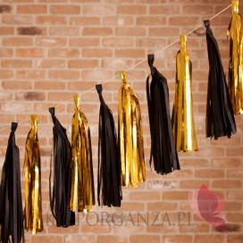 Girlanda frędzle czarno - złote, 12szt.