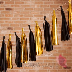 Girlandy frędzle na wesele Girlanda frędzle czarno - złote, 12szt.