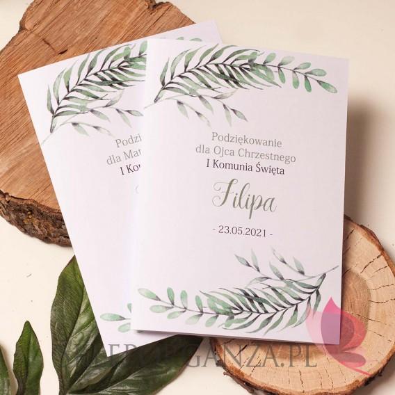 Kolekcja Zielona Gałązka na Komunię Podziękowanie dla rodziców chrzestnych - personalizacja KOLEKCJA ZIELONA GAŁĄZKA