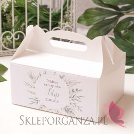 Pudełko na ciasto białe – personalizacja KOLEKCJA ZIELONA GAŁĄZKA