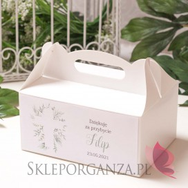 Kolekcja Zielona Gałązka na Komunię Pudełko na ciasto białe – personalizacja KOLEKCJA ZIELONA GAŁĄZKA