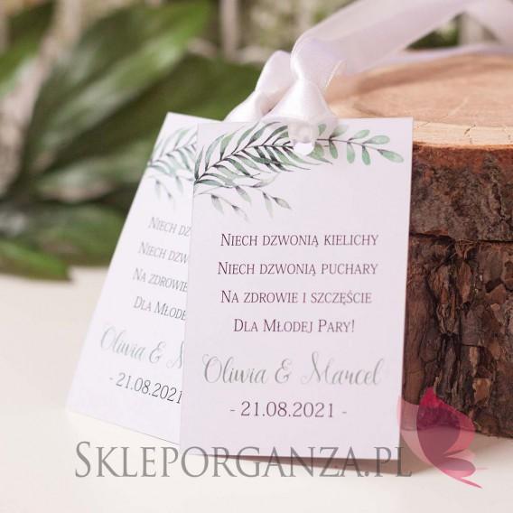 ZIELONA GAŁĄZKA na ślub Zawieszka na alkohol - personalizacja kolekcja ślubna ZIELONA GAŁĄZKA