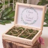 Drewniane pudełko na obrączki mech personalizacja kolekcja ślubna ZIELONA GAŁĄZKA