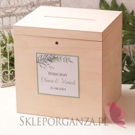 ZIELONA GAŁĄZKA na ślub Drewniana skrzynka na koperty - personalizacja kolekcja ślubna ZIELONA GAŁĄZKA
