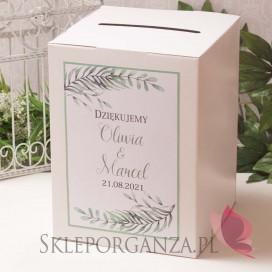 ZIELONA GAŁĄZKA na ślub Pudełko na koperty białe - personalizacja kolekcja ślubna ZIELONA GAŁĄZKA