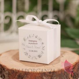 ZIELONA GAŁĄZKA na ślub Pudełko kostka biała - personalizacja kolekcja ślubna ZIELONA GAŁĄZKA