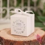 Pudełko kostka biała - personalizacja kolekcja ślubna ZIELONA GAŁĄZKA