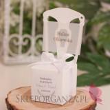 Pudełko krzesełko białe 2w1- personalizacja kolekcja ślubna ZIELONA GAŁĄZKA