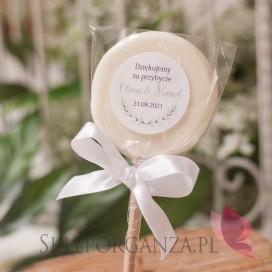 ZIELONA GAŁĄZKA na ślub Lizak biały mały - personalizacja kolekcja ślubna ZIELONA GAŁĄZKA