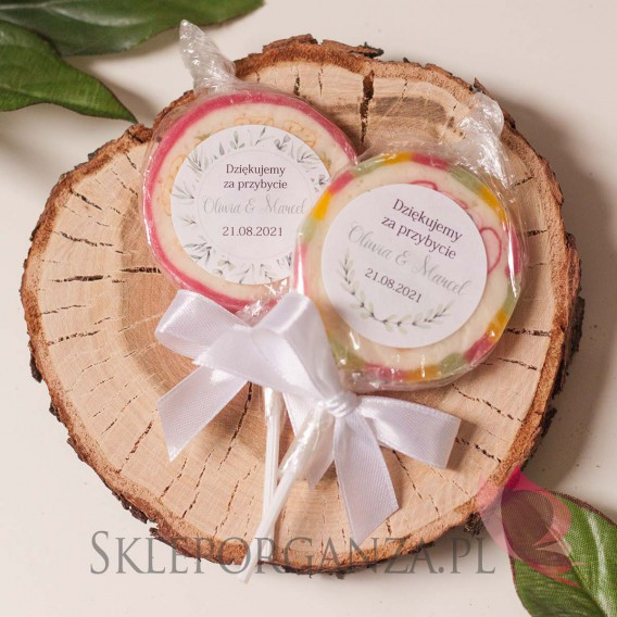 ZIELONA GAŁĄZKA na ślub Lizak owocowy - personalizacja kolekcja ślubna ZIELONA GAŁĄZKA