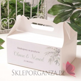 ZIELONA GAŁĄZKA na ślub Pudełko na ciasto białe- personalizacja kolekcja ślubna ZIELONA GAŁĄZKA