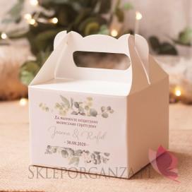 EUKALIPTUS na ślub Pudełko na ciasto średnie – personalizacja kolekcja ślubna EUKALIPTUS