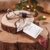 EUKALIPTUS na ślub Srebrna zatyczka do wina serce - personalizacja kolekcja ślubna EUKALIPTUS
