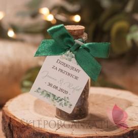 EUKALIPTUS na ślub Szklana buteleczka z korkiem – personalizacja kolekcja ślubna EUKALIPTUS