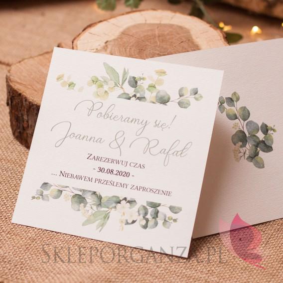 EUKALIPTUS na ślub Zawiadomienie weselne - personalizacja kolekcja ślubna EUKALIPTUS
