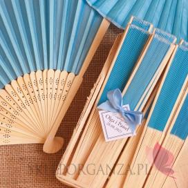 Wachlarz materiałowy niebieski - personalizacja