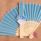 Wachlarze weselne personalizowane Wachlarz materiałowy niebieski - personalizacja