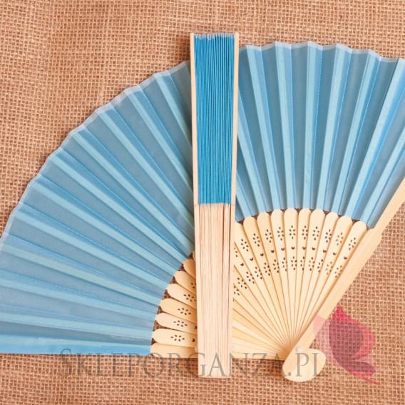 Wachlarze weselne Wachlarz materiałowy niebieski