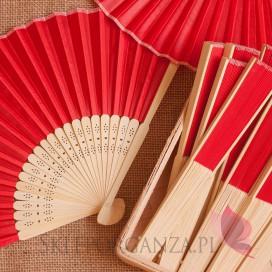 Wachlarze weselne Wachlarz materiałowy czerwony