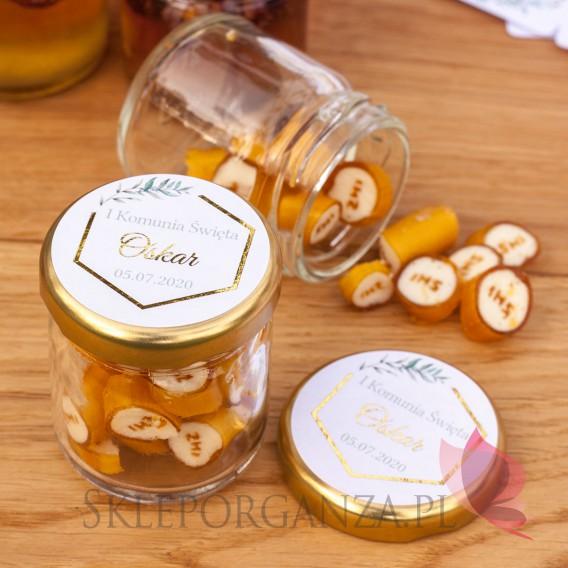 Kolekcja Geometryczna Gold na Komunię Podziękowanie dla gości – karmelki IHS– personalizacja kolekcja GEOMETRYCZNA GOLD