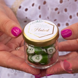 Upominki dla gości na Chrzest personalizowane Podziękowanie dla gości – karmelki – personalizacja kolekcja GEOMETRYCZNA GOLD