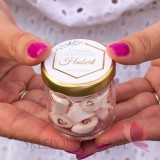 Kolekcja Geometryczna Gold na Komunię Podziękowanie dla gości – karmelki – personalizacja kolekcja GEOMETRYCZNA GOLD