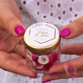Inne personalizowane upominki dla gości weselnych Podziękowanie dla gości – karmelki – personalizacja kolekcja ślubna GEOMETR...