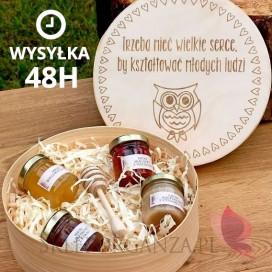 Prezenty dla Nauczycieli - Wysyłka 48h Drewniane pudełko z miodzikami GRAWER - duże - Dzień Nauczyciela