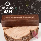 Drewniane pudełko na długopis z grawerem - Dzień Nauczyciela