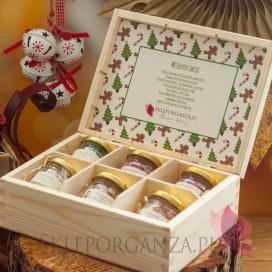 Słodycze świąteczne Świąteczny zestaw karmelków w szkatułce – średni – personalizacja