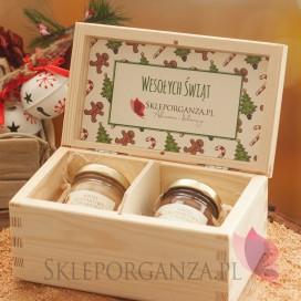 Zestawy świąteczne prezentowe z miodami Świąteczny zestaw miodów w szkatułce - mini - personalizacja