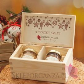 Świąteczny zestaw miodów w szkatułce - mini - personalizacja