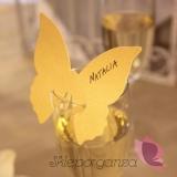 Winietki i numery stolików do wypisania Winietka na kieliszek motyl złoty