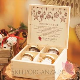 Zestawy świąteczne prezentowe z miodami Świąteczny zestaw miodów w szkatułce - midi - personalizacja