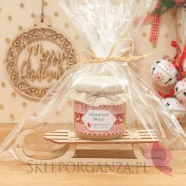 Zestawy świąteczne prezentowe z miodami Świąteczny zestaw miód wielokwiatowy DUŻY na dużych sankach – personalizacja