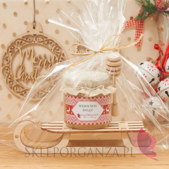Zestawy świąteczne prezentowe z miodami Świąteczny zestaw miód wielokwiatowy DUŻY z nabierakiem na dużych sankach – personali...