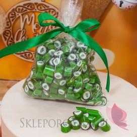 Słodycze weselne Świąteczne cukierki karmelki zielone z choinką