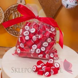 Słodycze weselne Świąteczne cukierki karmelki czerwone z laską