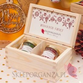 Słodycze świąteczne z LOGO firmy Świąteczny zestaw karmelków w szkatułce - mini – personalizacja