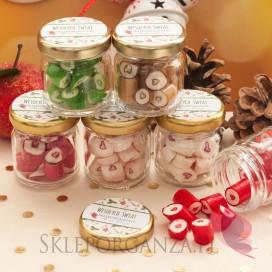 Słodycze świąteczne Karmelki w słoiczku z sercem – personalizacja święta