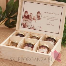 Zestaw miodów w szkatułce ze zdjęciem - średni - personalizacja Dzień Babci, Dzień Dziadka